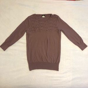 Purple Wool J. Crew Sweater with Lacey Detail - S